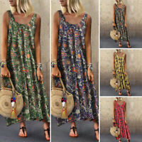 VONDA Women Print Long Dress Sleeveless Pleated Shirt Dress Loose Maxi Sundress