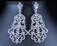 VICTORIAN BRIDAL DANGLE CLEAR CRYSTAL RHINESTONE CHANDELIER EARRINGS E2097S