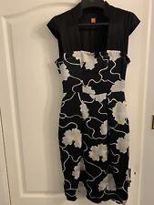 Hugo Boss Black Silver Floral Cap Sleeve Dress For Women's.Size: Uk6.it38.Us4.