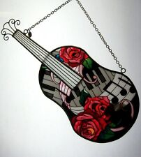 """AMIA STAINED GLASS SUNCATCHER 4-7/8"""" X 11-1/4"""" GUITAR ROSES MUSIC NOTES  #5217"""