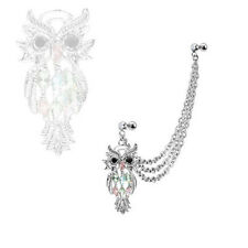 316L Surgical Steel Ear Cartilage Piercing Earring Ring Chain Owl 18 Gauge 18G