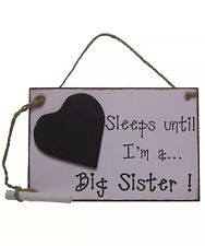 Sleeps Until Big Sister Chalkboard Baby Countdown Plaque Sign