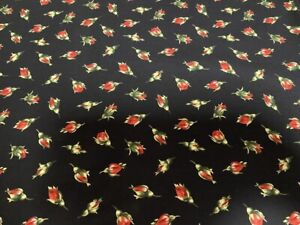 Little Rose Buds on Black Calico cotton Fabric per yd  Timeless Treasures Fabric