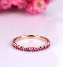 1Ct Round Cut Purple Amethyst Engagement Ring Band Guard 14K Rose Gold Finish