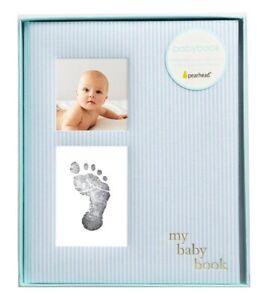Pearhead Seersucker Baby Book Baby Journal for Baby Boy Baby Photo Album Blue