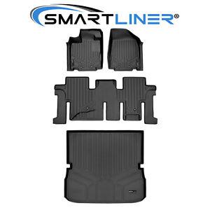 SMARTLINER Custom Floor Mats Cargo Liner Set Black For Pathfinder / JX35 / QX60