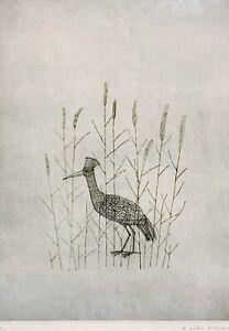Original KEIKO MINAMI 20th c. Japanese SIGNED ETCHING L'Oiseau THE BIRD 17/50