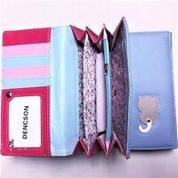 Blue Cute Cat Wagging Tail Long Wallet Purse Bag Leather Women Handbag Zipper