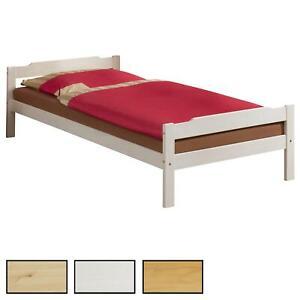 Einzelbett Gästebett Bettgestell, Kiefer massiv, 90x200cm in 3 Farben