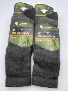 Lorpen Wool Work Duty Tactical T3 Crew Socks Grey Sz XL Lot Of 2 New