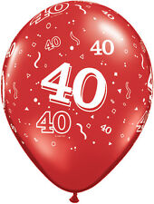 10 Red 40th Birthday/ruby Wedding Anniversary Party Helium/air Balloons Qualatex