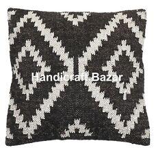 Indian Jute Cushion Cover Throw Handmade Hand Woven Boho Kilim Decorative Pillow