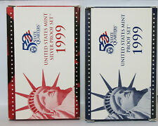 1999 US Mint Silver Proof Set plus 1999 Clad Proof set. In boxes with COA