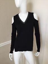 Democracy Black Viscose Knit Cold Shoulder Sweater w/ Braided Leather Trim Sz S