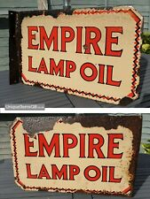 "Early Double Sided Empire Lamp Oil Enamel Sign Advertising Porcelain 24"" x 15"""