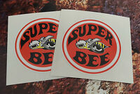 2 DODGE SUPER BEE  Classic Car Stickers 85mm round muscle car decals