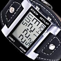 MC Digitaluhr Herren Uhr Armbanduhr Blau - Grünes Licht Beleuchtung Schwarz