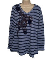 Soft Surroundings Tunic Top Women's XL Syrah Striped Floral Embroidered Blue