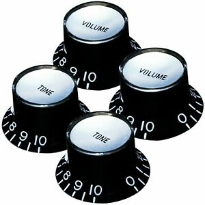 """NEW Set 4 BLACK Bell Top Hat KNOBS Silver Reflector for Gibson 1/4"""" Tone Volume"""