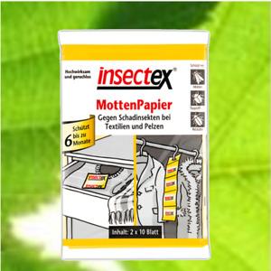 Terrasan Insectex Mottenpapier Mottenstreifen 20 Blatt (1-24 Packungen) °KB