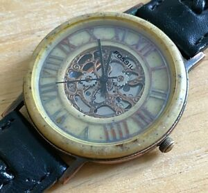 VTG Fossil BW-6727 Mens Faux Marble Analog Quartz Alarm Watch Hours~New Battery