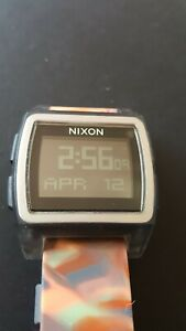 Nixon BaseTide Watch Digital Stainless Steel Case Broken Strap Works Great Surf