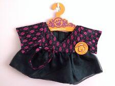 """Black Dress w/printed top & headband fits build a bear 14"""" - 18"""""""