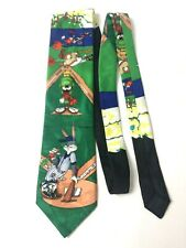Looney Tunes 1993 Vintage Marvin The Martian Baseball Game Neck Tie Bugs Taz