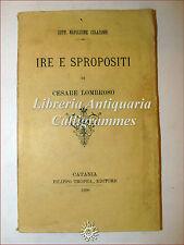 PLACCHETTA ANTI LOMBROSO: N. Colajanni, IRE E SPROPOSITI di Lombroso 1890 Tropea