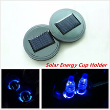Solar Energy Cup Holder Bottom Pad LED Light Cover Trim For All Cars All Models