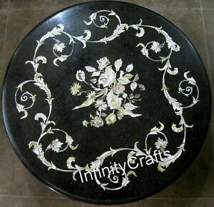 Mother of Pearl Stones Inlaid Marble Sofa Table Black Coffee Table Top 24 Inches