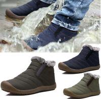 Mens Winter warm Outdoor Short Cotton Snow Boots fleece lined Waterproof Shoes