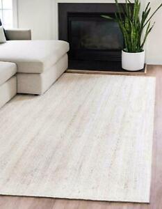 Rug 100% Natural Jute Rectangle Braided Floor Mat Handmade Reversible White Rug