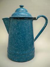 Antique Vintage Light Blue Mottled Enamelware Coffee pot