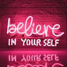 """Believe In Yourself Acrylic Neon Light Sign 24"""" Glass Artwork Decor Wall Cave"""