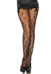 Leg Avenue Halloween Black Celestial Net/Fishnet Tights With Moon And Stars O/S