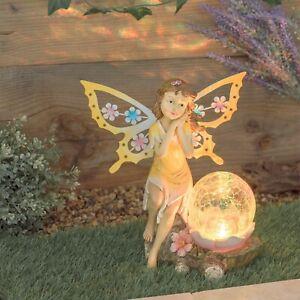 Solar Lighted Crackled Glass Gazing Globe Delicate Fairy Maiden Garden Statue