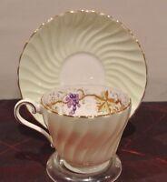 Mint Green Aynsley Tea Cup & Saucer. Bone China w/ Grape Vine Design Inside
