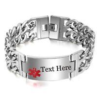 Medical Alert Id Bracelet Men Double Chain Stainless Steel Emergency Jewelry