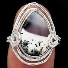 Merlinite Dendritic Opal - Turkey 925 Sterling Silver Ring s.9 Jewelry 3445