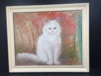 Signed Art Oil on Canvas Painting Ornate Framed WHITE CAT
