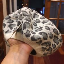 New! The Children's Place M 7-8 Years Gray & White Leopard Print Knit Beret Hat