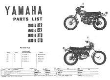 Yamaha 1972 1973 AT2 CT2 AT3 CT3 Parts List Motorcycle Manual
