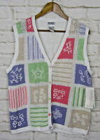 VTG Koret Francisca Knit Sweater Mom Vest Grandma Floral Patchwork Sz Medium NWT