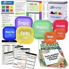 Efficient Nutrition Portion Control Containers Kit (7-Piece LABELED) WITH GUIDE