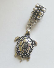 1 Metal Antique Silver Dangle Turtle Charm - Fits Charm Bracelet