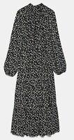 ZARA WOMAN NWT SALE! PRINTED MIDI DRESS FLORAL PRINT BLACK SIZE L REF: 4886/285