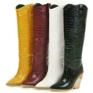 Roma Women Western Pointed Toe Cowboy Cowgirl High Heel Knee High Boots Shoes