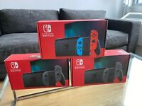 NEW Nintendo Switch Gray Console System w Neon Red + Blue Joy Con + Straps 32GB