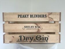 Large Wooden Peaky Blinders Dry Gin  Design Champagne Wine Crate Box Storage